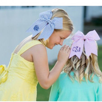 Girls Monogrammed seersucker bow. Available in pink or blue  Easter
