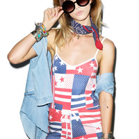 Wildfox Couture US Flag Pool Party Romper Multi