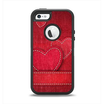 The Pocket with Red Scratched Hearts Apple iPhone 5-5s Otterbox Defender Case Skin Set
