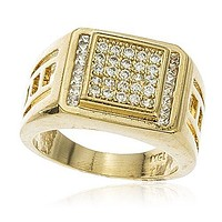 Men's Gold Overlay Iced Out Curved Layered Square Ring Sizes 9-12