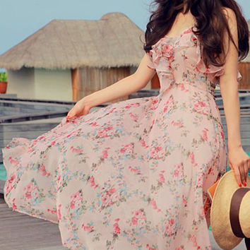 Pink V-Neck Floral Printed Midi Dress
