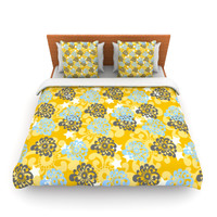 "Nandita Singh ""Blue and Yellow Flowers "" Gold Floral Lightweight Duvet Cover"