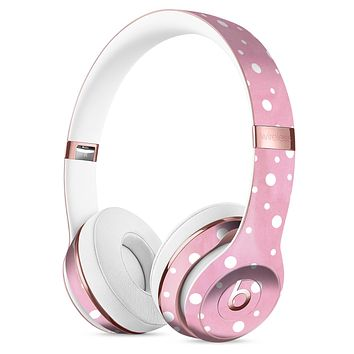 The Pink Watercolor Surface with White Polka Dots Full-Body Skin Kit for the Beats by Dre Solo 3 Wireless Headphones