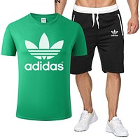 ADIDAS Men and women simple sports suit two-piece Green