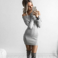 White Off the Shoulder Long Sleeve Knitted Bodycon Dress