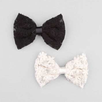 Full Tilt 2 Pack Daisy Lace Bow Hair Clips Ivory One Size For Women 24188816001