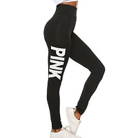 Victoria New fashion letter print sports leisure pants Black
