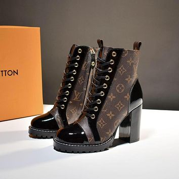 lv louis vuitton trending womens black leather side zip lace up ankle boots shoes high boots 40