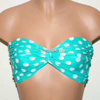 Mint and White Polka Dot Bandeau Top, Swimwear Bikini Top, Twisted Top Bathing Suits, Mint Spandex Bandeau Bikini