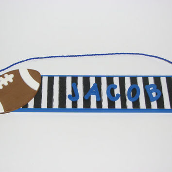 Personalized Football Name Sign - Blue Football Room Decor - Kids Room Decor - Sports Room