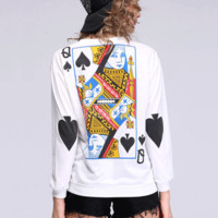 'The Daeunna' Poker Card Printed Sweatshirt
