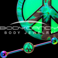 Glow in the Dark Tie Dye Peace Sign Industrial Barbell in Rainbow Titanium | Body Candy Body Jewelry