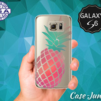 Pink And Mint Pineapple Pop Art Summer Fruit Cute Wanelo Case for Clear Rubber Samsung Galaxy S6 and Samsung Galaxy S6 Edge Clear Cover