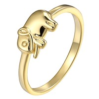 Womens 925 Sterling Silver Vintage Style Luck Elephant Design Ring 14k Gold Tone