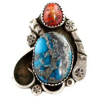 Navajo Turquoise & Red Coral Ring Sterling Silver
