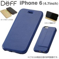 Strapya World : Deff Genuine Card Flip Type Leather Case for iPhone 6 (Blue)