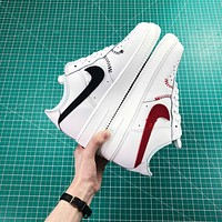 Nike Air Force 1 Low White With Red And Black Logo Shoes