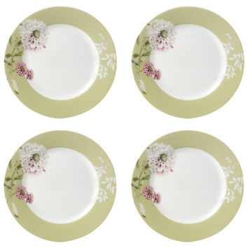 "Mikasa Floral Pink Appetizer, 6.5"", Set of 4, Bread Plates"