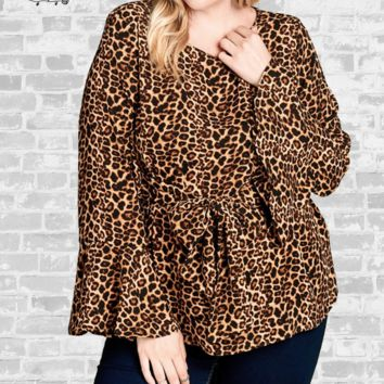 Tie Front Bell Sleeve Blouse - Leopard - 2X or 3X only