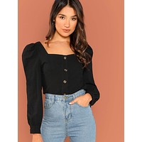 Button Up Puff Sleeve Shirt