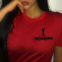 YSL Top Yves Saint Laurent Shirt Sides Embroidery Logo Women Men Tee Shirt Top