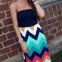 Navy Tube Chevron Maxi | The Rage