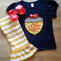 Fall outfit , girls thanksgiving outfit , mustard and navy , acorn appliqué , fall festival , Thanksgiving outfit , Halloween outfit