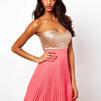 Elise Ryan | Elise Ryan Sequin Bandeau Dress with Pleated Skirt at ASOS