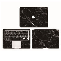 Black Marble Grain Full Body Cover Laptop Decal Stickers Case For Apple Macbook Air Pro Retina 11 13 15 Inch Protective Skin