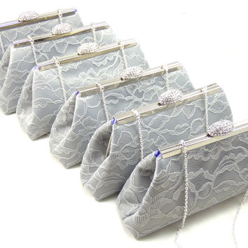 Set of Six Platinum Grey and Lavender Bridesmaid Gift Clutches 5% Off