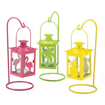 Set of 3 Tropical Mini Candle Lanterns with Stands