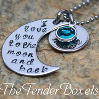 personalized necklace I love you to the moon and back hand stamped pendant necklace.