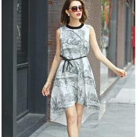 White Forets Print Sleeveless Asymmetrical Dress