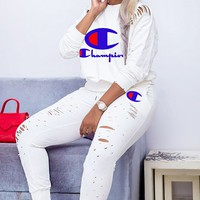 Champion New fashion letter long sleeve sweater and pants two piece suit White