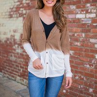 Forever Fading Cardigan, White-Tan