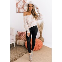 Completely Yours Striped V-Neck Sweater (Oatmeal/Apricot)