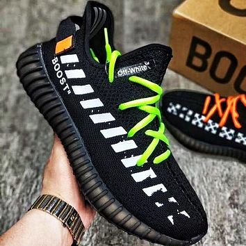 ADIDAS x Off White Yeezy Boost 350 V2 Classic Woman Men Casual Running Sport Sneakers Shoes Black
