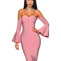 Valerie Off Shoulder Bell Sleeve Bandage Dress