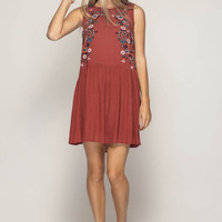 Floral Embroidery Swing Dress