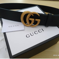 Gucci Black leather belt with Double G Gold buckle, size 100cm fits 36