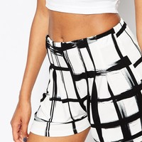 ASOS Pleated Culotte Shorts in Mono Sketchy Check