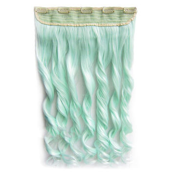Colorful Straight Hair Extension 5 Clips Wig    Mint# mint