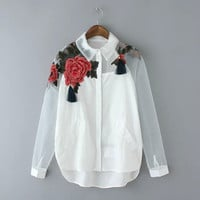 White Floral Embroidered Tassel Long-Sleeve Collared Shirt