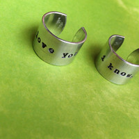 Star Wars- I love you. I know.- Aluminum Hand Stamped Ring Set- Choose the Font- Leia & Han Solo Quote