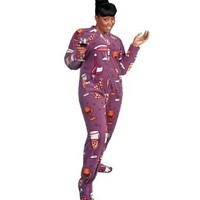 Amazon.com: PajamaCity Wine Lovers Print Polar Fleece Drop Seat All in One Pajamas with Feet for Teens and Adults: Clothing
