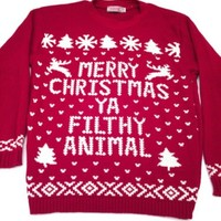 Merry Christmas Ya Filthy Animal Red Holiday Sweater 100% Acrylic Women's S M