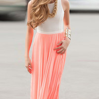 Cupshe Coral Cutout Back Pleated Dress
