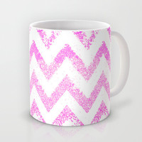 sparkly pink chevron Mug by Marianna Tankelevich