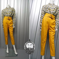 Vintage 80s Mustard Yellow Pleather Pants High Waisted Faux Leather Trousers Tapered Leg Hip Hop Clothing Cigarette Pants Cropped Mom Jeans