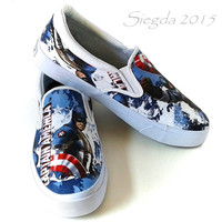 VERY RARE Captain America-Marvel-Men's White Slip ons-Custom shoes-Gifts for him-Cosplay-Comic book
